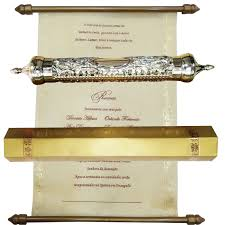 traditional scroll invitation cards with round golden case
