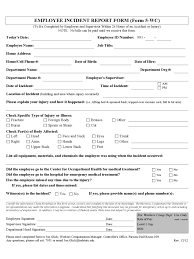 Employee Incident Report Template Writing Sample Injury Form Doc