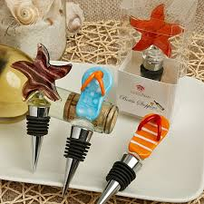 set of 4 flip flop and star fish murano glass bottle stoppers 3229 jpg