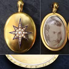 antique locket 1878 victorian north star 15k gold locket natural pearls blue