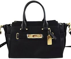 coach 87295 swagger 27 black pebbled leather satchel women s handbag
