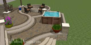 patio designs with fire pit and hot tub. Curvy Terraced Patio Design With Hot Tub Designs Fire Pit And H