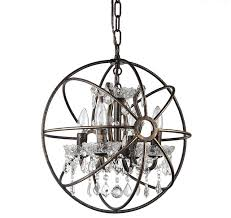 dover 4 light antique bronze vintage globe cage chandelier with crystals 16 contemporary chandeliers by edvivi llc