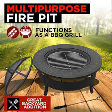 round multipurpose outdoor fire pit backyard bbq grill table patio fireplace