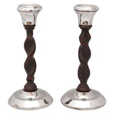 art deco jacobean style sterling silver and barley twist wood candlesticks for