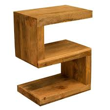 Ambala Cube Light Mango Wood S Shape Side Table Solid Indian