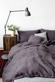 dark grey stone washed linen duvet cover