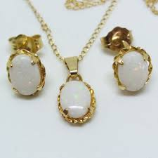 vintage fine natural australian white opal necklace matching earrings in 14k gold in original box catawiki