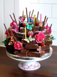 chocolate birthday cake with candles. Simple Chocolate Nice Way To Serve Individual Brownies A Stack Of Chocolate Brownies With  Flowers And Butterflies Candles  U203f KIDS PARTIES Pinterest Cake  With Birthday Candles E