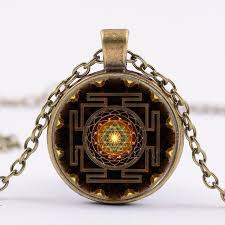 whole drop time glass buddhist sri yantra necklace pendant charms choker vintage gold silver bronze black necklace for women jewelry new red pendant