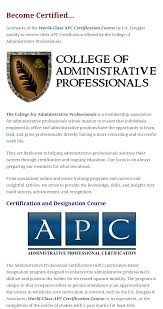 Administrative Professional Certificate Professional Administrative Certificate Of Excellence