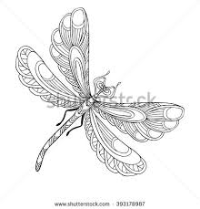 Small Picture Decorative Dragonfly Coloring Book Adult Older Stock Vector