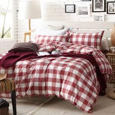 aliexpress com red and white plaid duvet cover set for single or double bed 100 cotton bedcover bedding checd sheets