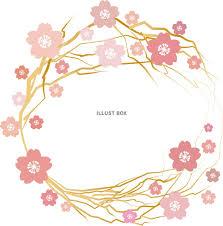 無料イラスト 桜梅おしゃれフレーム枠飾り花枠和風和柄かわいい背景