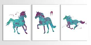 horse wall art watercolor girls room art horse painting art for girls  on wall art pictures of horses with amazon horse wall art watercolor girls room art horse