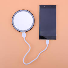 Round Makeup Light Us 10 68 28 Off Creative 16 Led Mini Round Makeup Mirror Dual Mobile Power Bank With Clip 3 Light Brightness Night Use Women Make Up Mirror In Eye