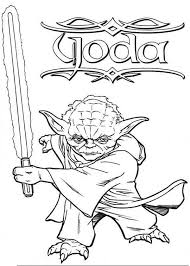 Small Picture Master Yoda Swing Light Saber in Star Wars Coloring Page
