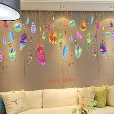 dream catcher room decor feather wall sticker classic dream catcher sofa art decal mural lucky room