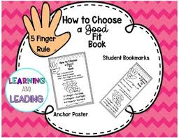 5 Finger Rule For Choosing Good Fit Books Anchor Poster Student Bookmarks
