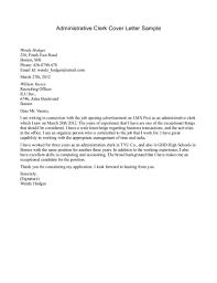 Accounting Clerk Cover Letter Clerk Cover Letter Samples Under Fontanacountryinn Com