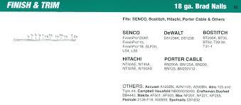 senco 18 gauge straight brad nail cross reference