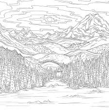 Find high quality landscape coloring page, all coloring page images can be downloaded for free for personal use only. Coloring Pages Nature Landscape Forest Mountains Sea Island