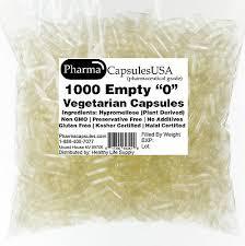 10 000 Empty Vegetarian Capsules Size 0 Kosher Halal
