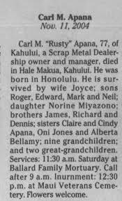 Obituary for Carl M. Apana (Aged 77) - Newspapers.com