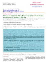 Pdf Efficacy Of Herbal Mouthwashes Compared To