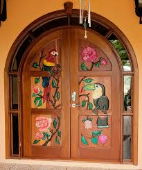 arched entrance door with glass full suround light full painted carving mahogany