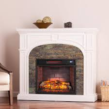 w faux stone infrared electric fireplace in white
