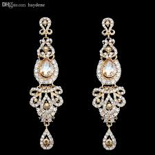 2018 whole big long gold earring gold plated wedding earring for brides bridesmaids big large earrings for women brincos grandes ersh41 from haydene