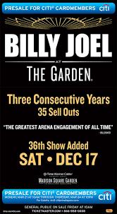billy joel madison square garden tickets. Mar 21, 2016. Billy Joel MSG Madison Square Garden Tickets
