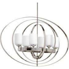 equinox 6 light polished nickel orb chandelier with opal etched glass