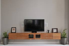 ... Living Room:Winning Long Zebra Wood Floating Media Cabinet Grey Wall  Paint Black Led Tv