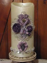 elegant luminara flameless candle 4 x 9 ivory purple w glitter and remote