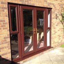 rosewood upvc french doors with glazed side panels