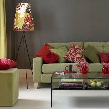 sage green and grey | sage green, red and gray living room. color scheme