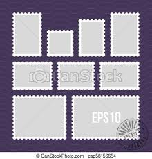 Stamps Template Postage Stamps With Perforated Edge And Mail Stamp Vector Template