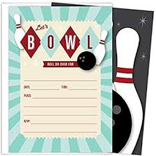 Bowling Party Invitation Amazon Com Bowling Party Invitations Set Of 25 Fill In Style