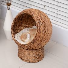 Cat House Pawhut 24 Hooded Banana Leaf Elevated Cat House Bed Kitty Condo