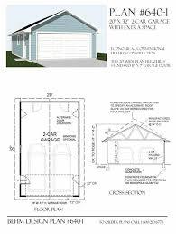 two car garage plan 640 1 20 x 32 by behm design