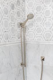 marble hexagon tile. Gorgeous Shower Features Marble Hex Tiles On Upper Walls And Stacked Lower Lined With A Polished Nickel Kit. Hexagon Tile