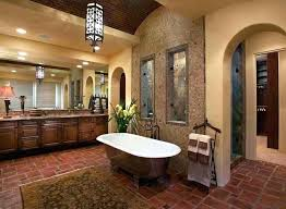 mediterranean floor tile floor tile elegant bathroom with wooden vanity and tub and brown floor tiles mediterranean floor tile