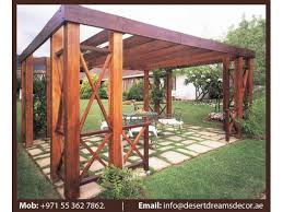 garden wooden shades uae outdoor pergola wooden structures uae