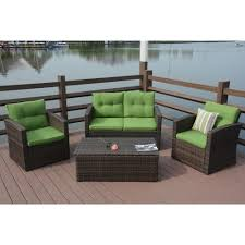 wicker patio furniture. Puerta 4 Piece Outdoor Wicker Patio Sofa Set With Cushion Box Beige Furniture