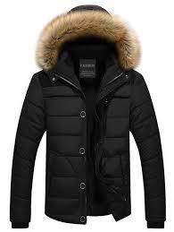 faux fur trim hooded puffer jacket black 3xl