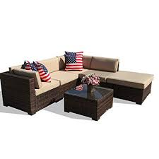 6 piece outdoor patio furniture set all weather pe brown wicker sectional set sofas with