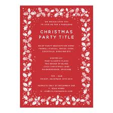Formal Christmas Party Invitations Elegant Red White Holly Leaves Christmas Party Invitation