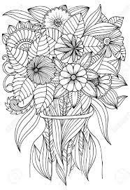 塗り絵のアートセラピーの花瓶の花
